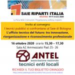"""Convegno del 16 ottobre 2020 """"I tecnici pubblici si confrontano al Saie di Bologna"""""""